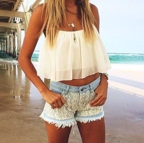 Lace shorts + white tank + straight hair = Girly Fashion