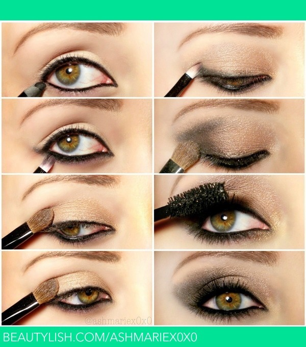 1.line upper lid and waterline 2.smudge gray shadow on lower lash line 3.add gold shadow on upper lid 4.add gray eyeshadow to the outer v 5.blend 6.add mascara/lashes 7.your done enjoy and like/save my tip :)
