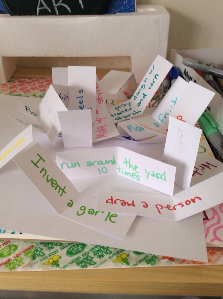 Simply write fun things to do on little pieces of paper and fold them up.