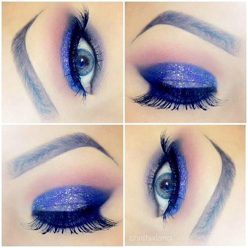 Glittery blue violet mascara