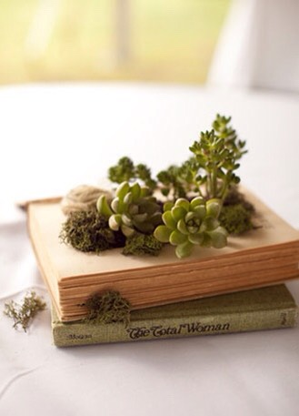 To further protect the book, place a layer of cling wrap in the space and sprinkle a layer of succulent potting soil. Plant your succulents along with moss and fabric flowers and you're done!