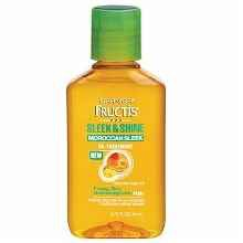 6. GARNIER FRUCTIS HAIRCARE SLEEK & SHINE MOROCCAN SLEEK OIL TREATMENT $5.99   A smoothing, deep conditioning daily wear treatment that smells divine.  Compare to: Moroccanoil brand Moroccan Oil Treatment  Try: Using on ends, not on roots. Use on dry hair to tame fly aways!