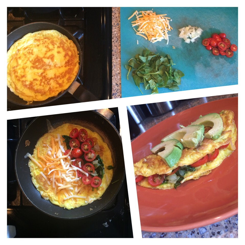 1) Heat eggs 2) Wait until they're nice & brown  3) Add condiments *spinach, tomatoes, onions, cheese, etc* 4) Fold omelette together & add avocado on top  5) DIG IN!!! (:
