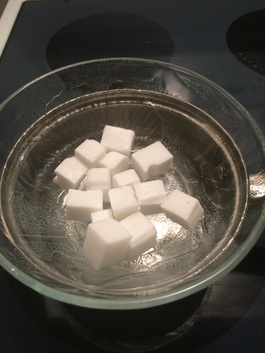 Then You put your Soap cubes on a double boiler on low Heat for about 10 to 15 minutes, you can stir it to make it melt a bit faster.
