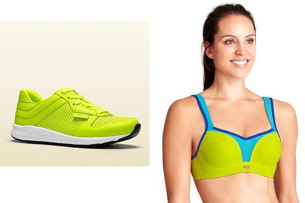 Gucci Neon Leather Low-Top Sneakers, $640 at Gucci  Sports Bra by Panache, $68 at Athleta