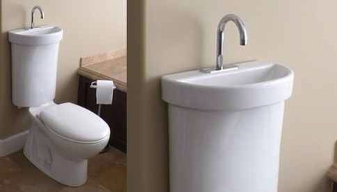 Your toilet could have a sink on the cistern. This version is from Japan and is water-efficient in addition to saving tons of space.