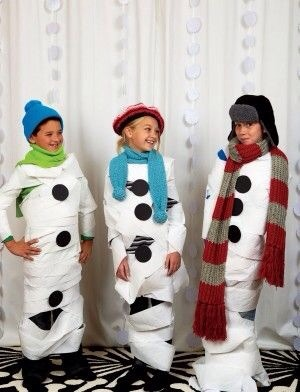 How much fun would this be.  Get out the toilet paper, scarfs, hats and cut out circles and have a fun family night or you can also do at school party.