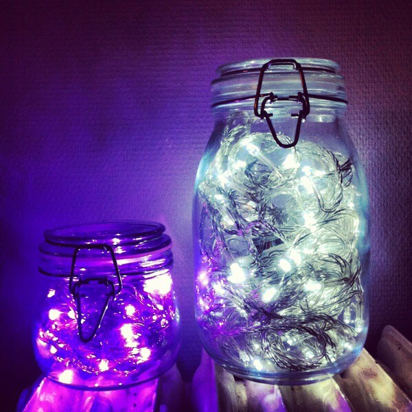 Simple lights in a mason jar to light up someone's day. Can be used as a decoration or even for your kids night light.