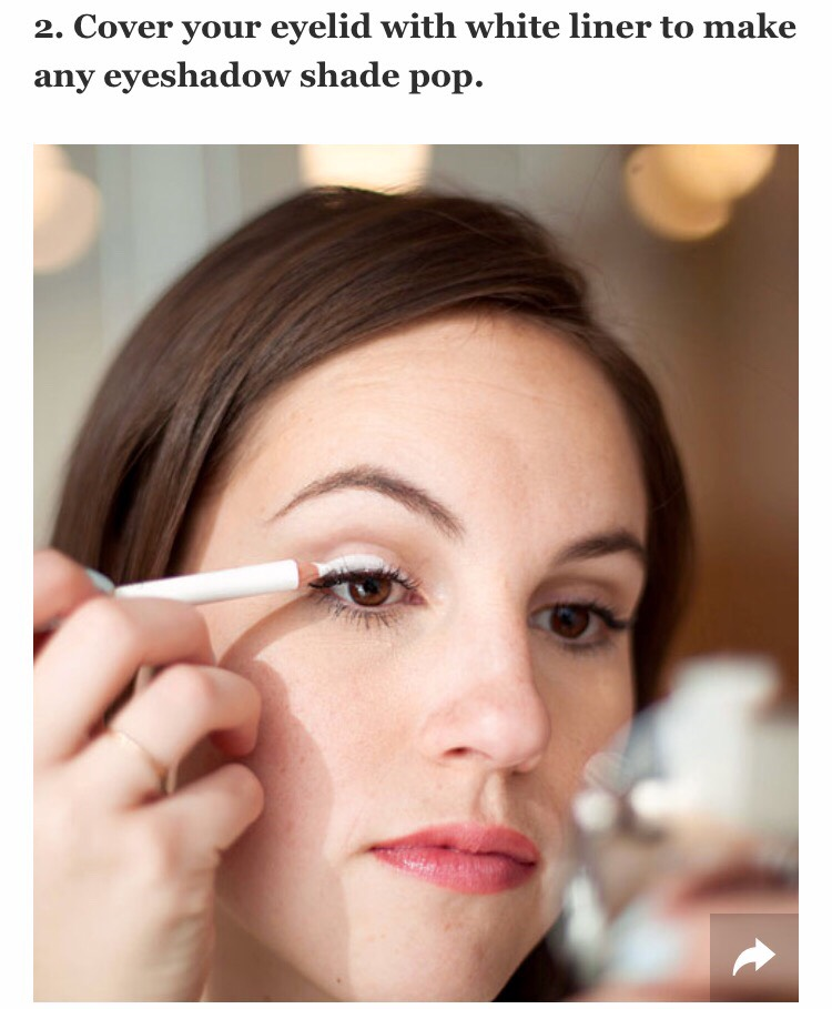 To make a sheer or less pigmented eyeshadow appear more colorful on your eyelid, take a white eyeliner pencil and run it over your entire eyelid. The opaque consistency of the liner will intensify any eyeshadow shade and make it pop instantly against your skin.