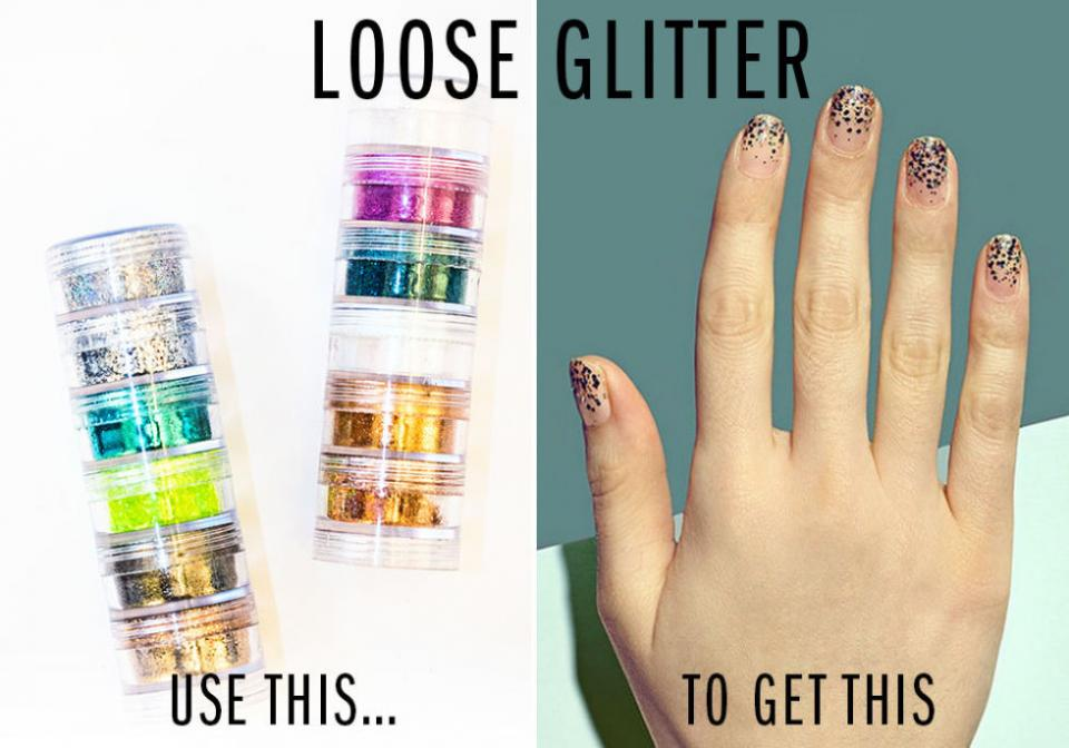 9. Loose Glitter. Take any mani to the next level by sprinkling a little loose glitter (that you can get at any craft store) evenly all over your base color while it's still wet, or concentrating it at the tip of your nail for an ombré effect.