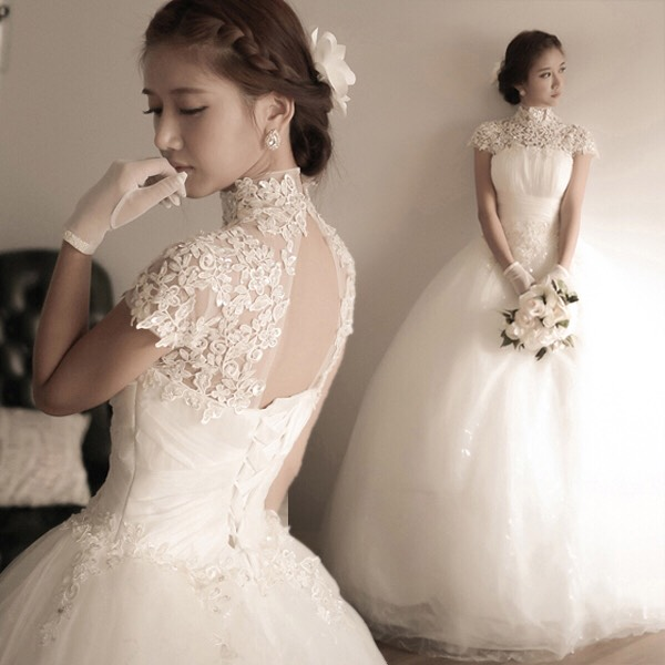 Restoring Ancient Ways Wedding Dress Lace Turtle Neck Backless