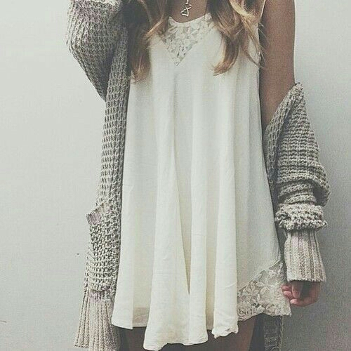 Adding a comfy cardigan to any simple dress makes for a layered, put together look!