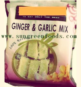 Put 2 teaspoons of garlic and ginger mix (or paste) in the pan and stir