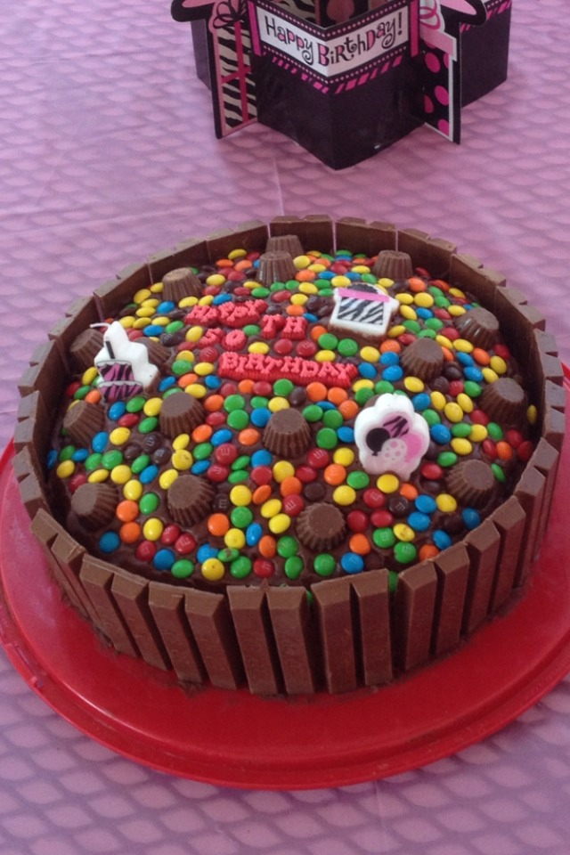 You will need:1box of Cake Mix,1Chocolate Icing,1bag M&Ms(family size)1bag Mini Peanut butter cups,5pks.Kit~Kats ~bite size~~you make a circle cake as directed,Add icing,Add Kit~Kats in a circle,Add peanut butter cups, Add M&Ms and you have a Candy Cake!! Who wouldn't love all that Chocolate?? :) ❤