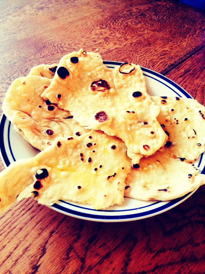 This is a garlic butter naan but you can add cheese, coriander or whatever suits