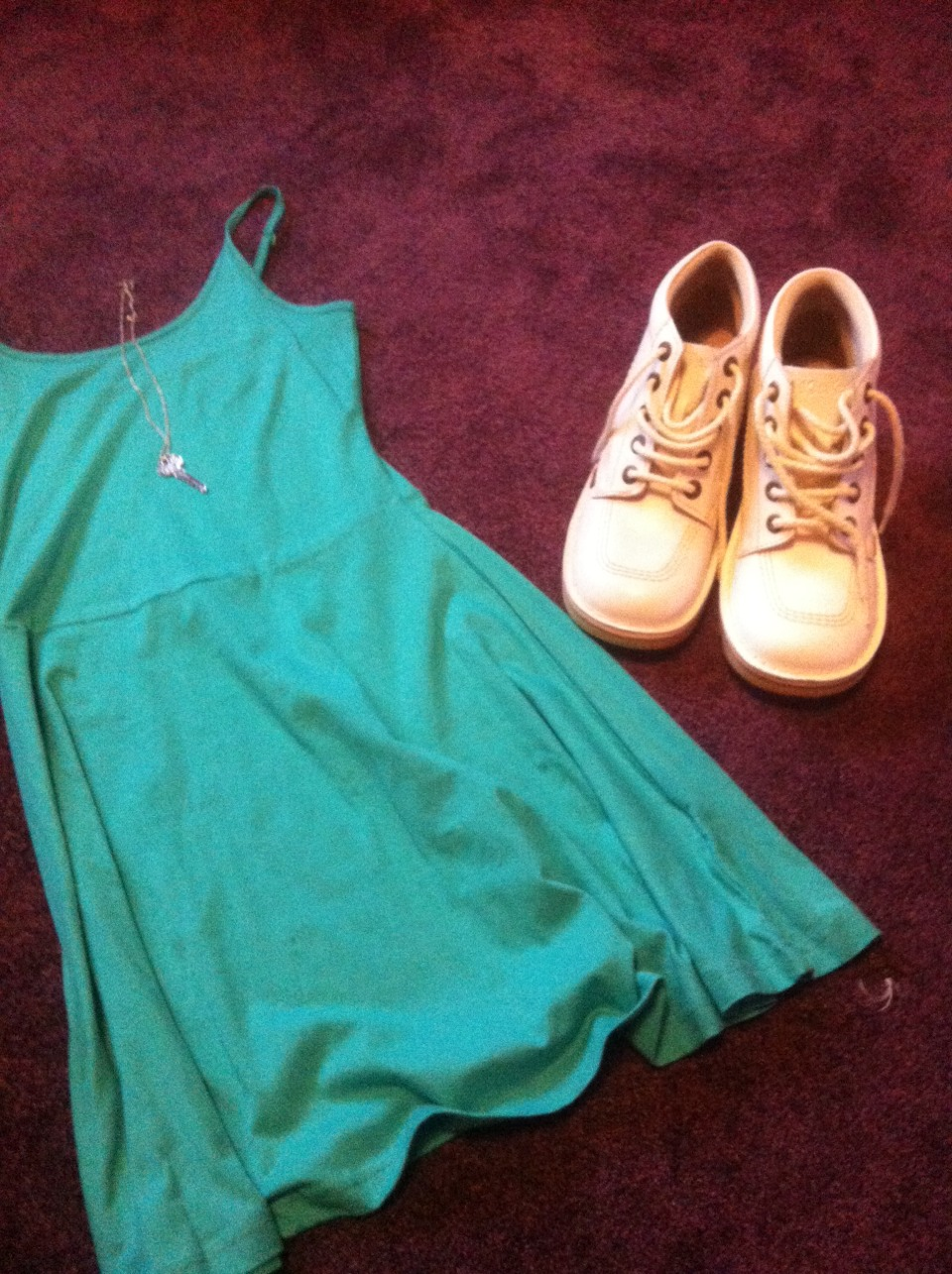 Penny's/primark dress, kicker shoes and pair with a white cardi, tights and a necklace!
