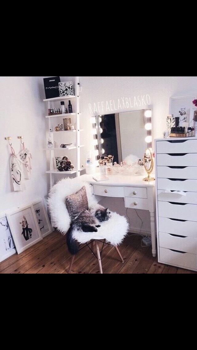 I think another thing to make your vanity nicer is a good chair for you to sit in while doing your makeup. I got one at ikea for like $30 and its called the SNILLE. I really recommend it!