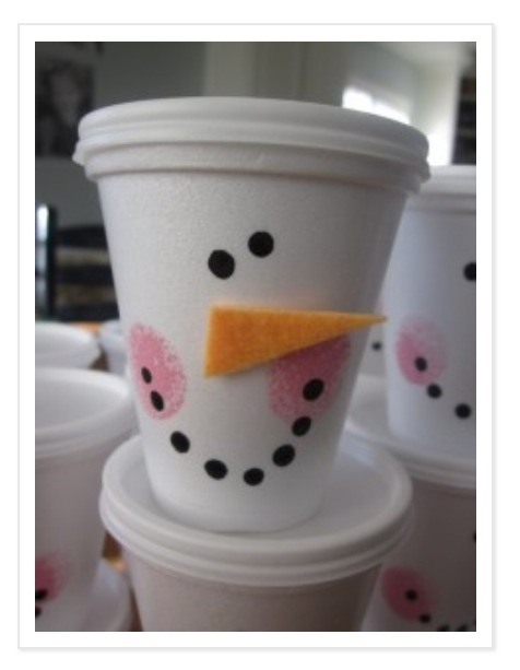 Serve your yummy white hot chocolate out of these cheap, easy to make cups! They are so cute!