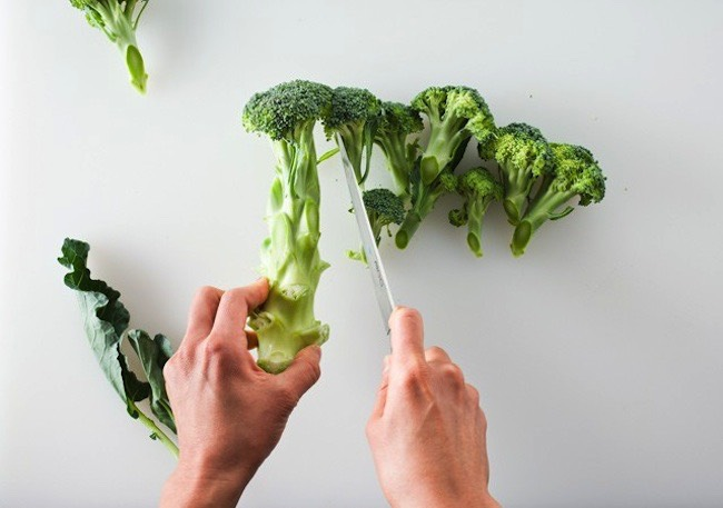 Don't throw away broccoli stalks and leaves! Did you know you can eat them? They make for a nutrient-rich raw snack, or you can chop them and cook them up.