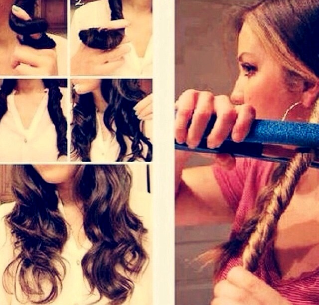 ❤ Do this every morning before school and everybody will love your hair 💋 Once done spread out curls to make beach curls!  💇If not working make the piece of hair thicker By twirling more up!