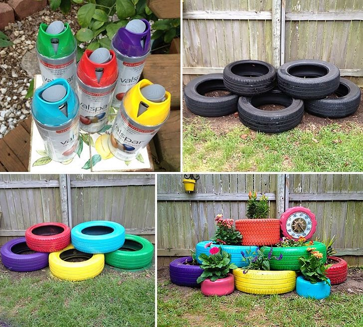 Nothing to do on a nice day? Take out the spray paint and old tires and get to it! This can add more layers to your garden and give it a new look