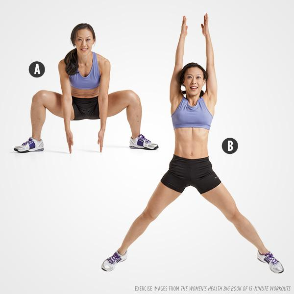 Grand Plié Squat Reach and Jump: Do 15 reps