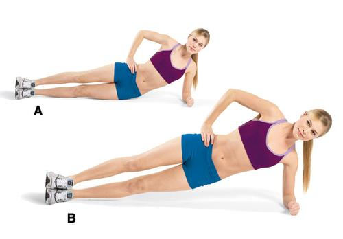 Side Plank With Hip Dips: This is a fantastic exercise for your oblique muscles, those abdominal muscles that live on the sides of your core.  Repeat this movement 10 times on each side, and do three sets.