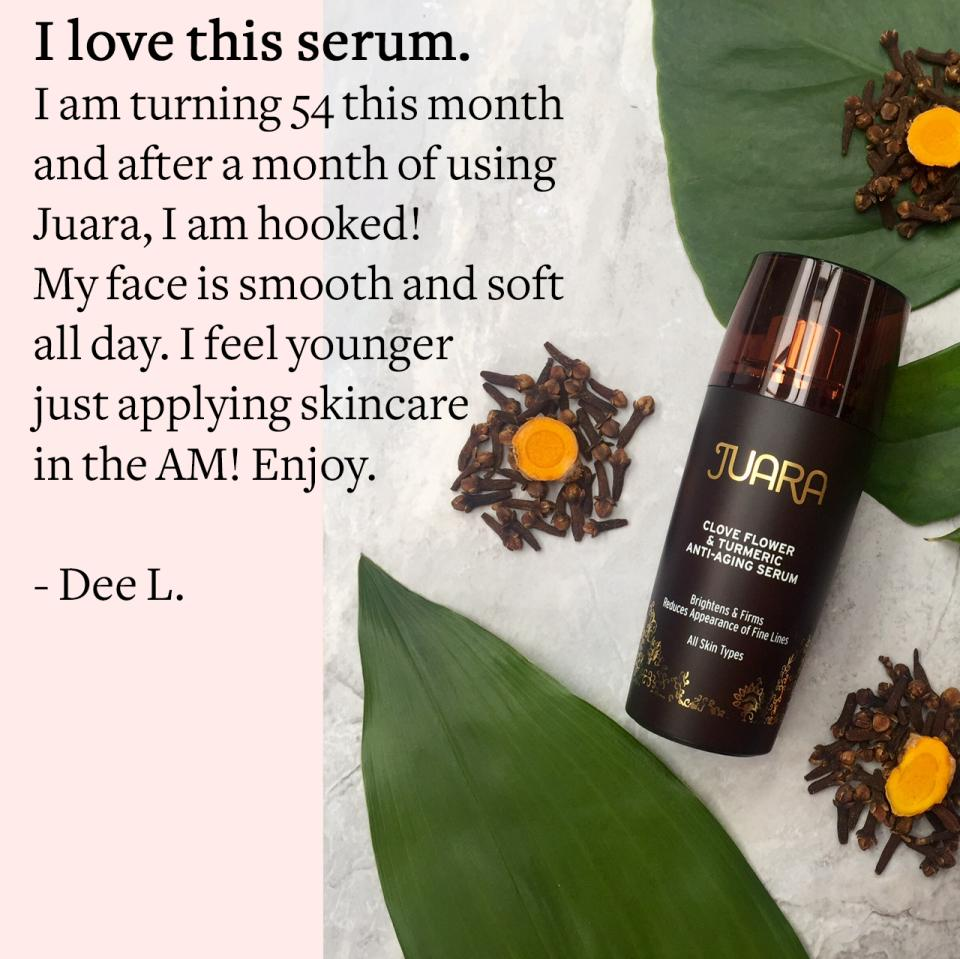 Clove Flower & Turmeric Anti-Aging SerumIf you're concerned about signs of aging, this serum will put your worries to rest.    In a clinical trial, users saw after 4 weeks:  – 98% of users' skin hydration increased  – 91% reported that skin looked and felt smoother  – 84% saw firmer & brighter looking skin  – 78% saw an improvement in the look of fine lines   – 75% saw less skin redness  – 75% saw lightening of dark spots