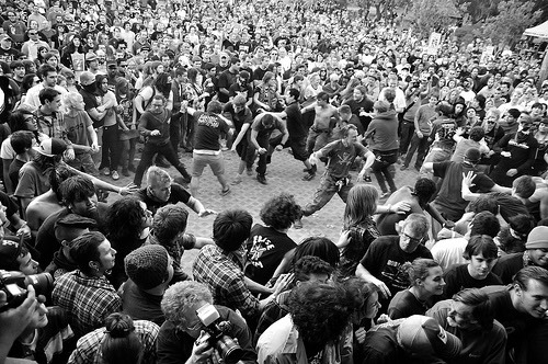 If you are going into a mosh pit KNOW HOW TO NOT GET HURT. If you are trying to stay away from mosh pits then WATCH YOUR BACK, and stay to the sides and back of the crowd. Mosh pits usually happen towards the front and middle.