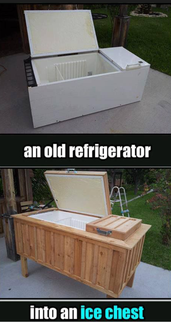 Reuse your old refrigerator and turn it into an ice chest