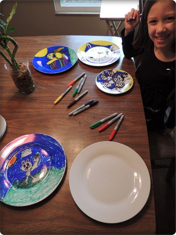get craft plates at any craft store and let them color them with sharpie then put them in the oven at 350 degress and bake for a few minuets to bake the color on