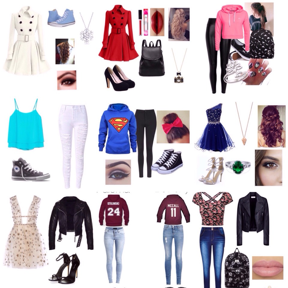 These are actually the outfits that I had created on a app called Polyvore. It's free on the App Store or play store