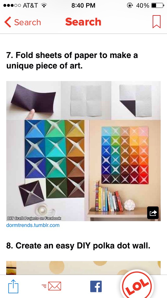 Fold sheets of paper to make an easy, bright wall decoration!