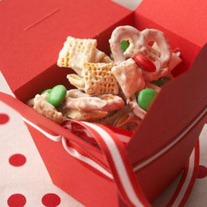 Christmas Chex Mix  http://www.midwestliving.com/recipe/appetizers-snacks/snowflake-mix/