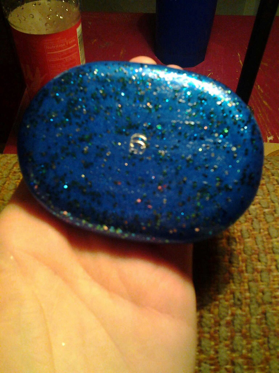 First I took one of my old compacts and cleaned it out and painted the outside of it with my daughters favorite nail polish