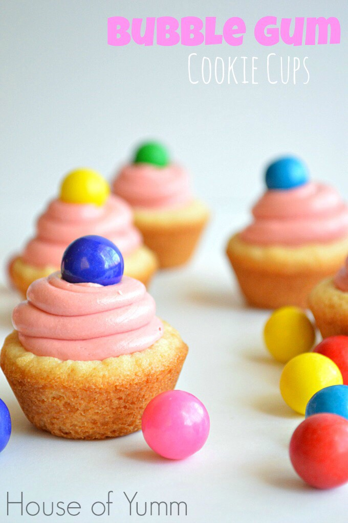 BUBBLE GUM COOKIE CUPS Sugar Cookie Cups filled with bubble gum flavored frosting and topped with a colorful gumball! 10 min Prep Time  20 min Cook Time