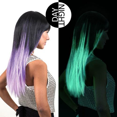 Not into rainbow hair? You could just try one colour that glows in the dark.