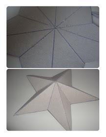 Next, fold along your score lines to give the star it's 3D effect. A tip for this is to fold the line down the center of the point into a hill fold (outwards) and the lines either side of the middle line into a valley fold (inwards) this will make sense when you start to crease your lines.