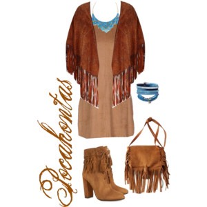 I have always loved fringe, so the opportunity to create a Pocahontas inspired outfit was such a fun idea! I like how the different shades of leather and suede mix and PPP against each other. I also loved being able to pull in some of the beautiful, bright blue from her necklace in more jewelry.