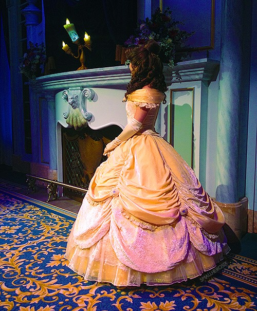 Enchanted Tales with Belle Enjoy an interactive story adventure featuring Belle, Lumiere and you!  Height: Any FP+: Yes