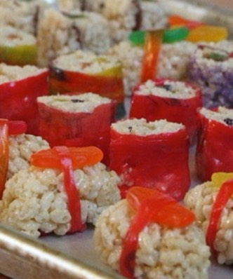 Rice crispie squares and fruit roll ups!