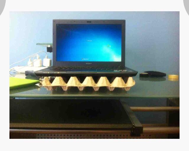 Eggcarton= laptop overheating prevention -majig