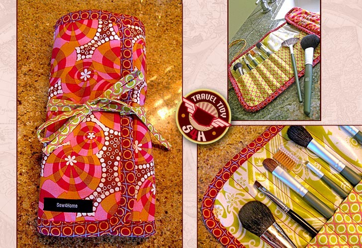 This DIY makeup storage idea will involve your sewing machine. I like this because you can get quite creative with the fabrics. This is also fantastic for bringing your favorite brushes with you wherever work or wanderlust may take you. Design variation: sew square pockets for makeup.