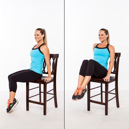 Folded leg lifts Sets: 3 Reps: 15  * just like the recent leg lifts these are the exact same way but you don't extend your legs. You keep them folded at all times