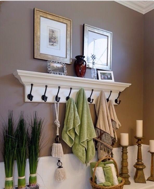 Use coat hangers to hang towels