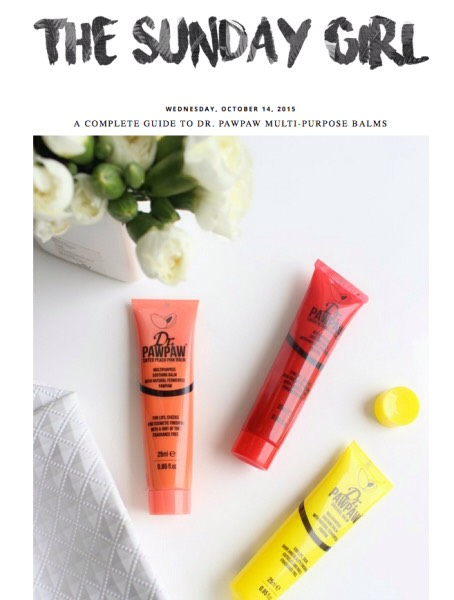 "1️⃣7️⃣ The Sunday Girl: ""UK-based beauty site full of product reviews. From the latest drugstore hauls to the best ways to use Dr. Paw Paw products, this blog has it all."""