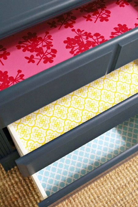 Wall paper lined drawers