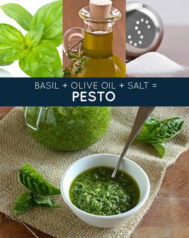 PESTO: 3 T Olive oil 4 C. Basil Salt and pepper Blend in food processor