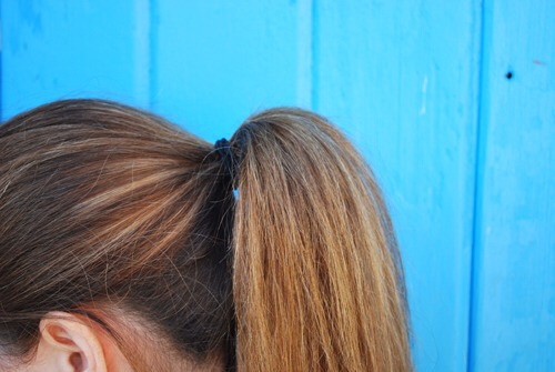 There you have it!  A nice and full looking ponytail that is easy and takes no time at all.