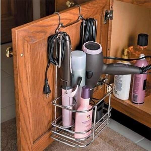 put all your heat products in a basket hanging on a door!